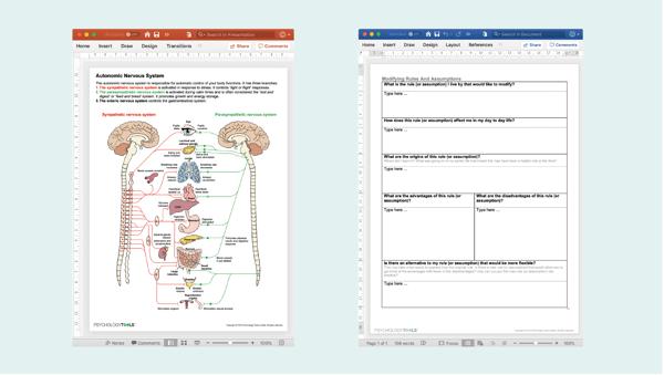 Editable worksheets