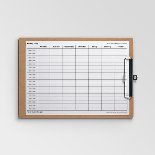 Activity Diary worksheet with hourly time intervals