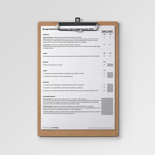 recognizing depersonalisation / derealisation information handout